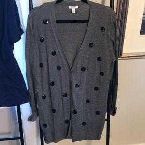 Button up boyfriend cardigan with sequin details